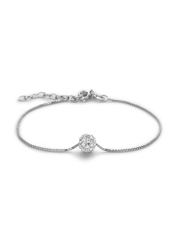 Silver bracelet, 7 mm ball with white crystals