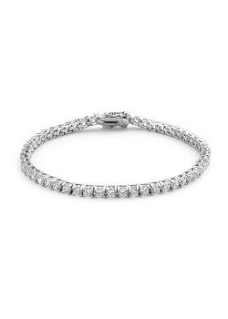 armband in zilver, één rij zirkonia