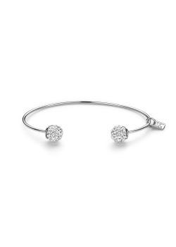 Rigide armband in zilver, 2 bollen met witte kristallen