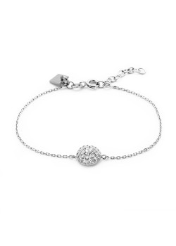 Armband in zilver, bloem, wit