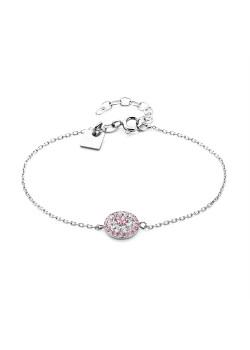 Armband in zilver, bloem, roze en wit