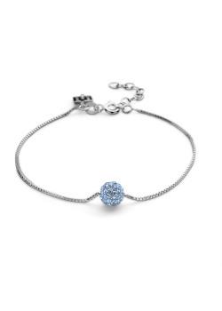 Armband in zilver, bol 7 mm, lichtblauwe kristallen