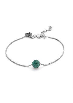 Armband in zilver, bol 7 mm, smaragdgroene kristallen