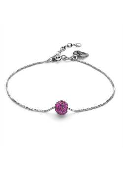 Silver bracelet, 7 mm ball with fuchsia crystals