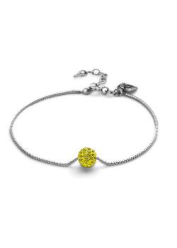 Armband in zilver, bol 7 mm, gele kristallen