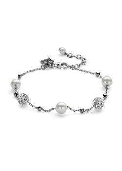 Armband in zilver, 2 bolletjes met witte kristallen, 3 parels