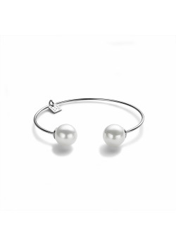 Armband in zilver, open bangle met 2 parels