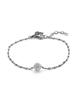 Armband in zilver, bol witte kristallen, kubusjes