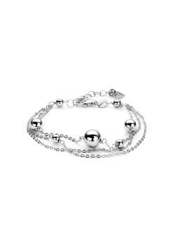driedubbele armband in zilver, bol motief