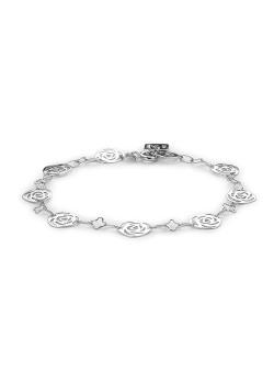 Bracelet en argent et guirlande de roses entre les mailles