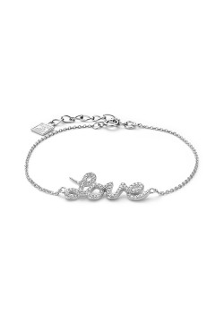 silver bracelet, love with zirconia