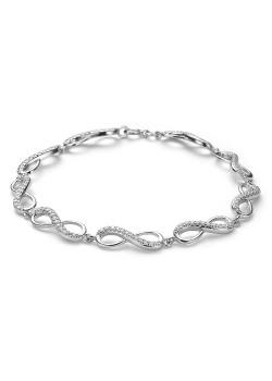 armband in zilver, infinity schakels, zirkonia