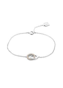 Armband in zilver, 2 cirkels, perzik