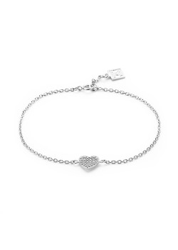 Armband in zilver, hart, wit