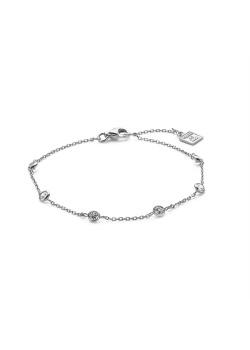 Silver bracelet, 6 small zirconia stones