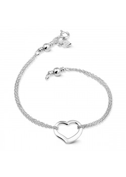 Armband in zilver, open hart