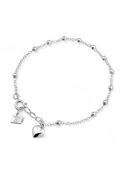 Armband in zilver, bolletjes en een hartje