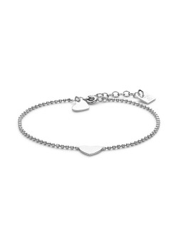 Armband in zilver, bolletjesketting en 2 hartjes