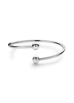 Bangle in zilver, 2 bollen van 8 mm