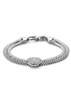 silver bracelet, round, zirconia