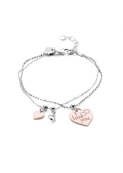 Armband in zilver, I love you