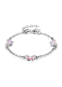 armband in zilver, vlinders