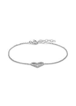 Armband in zilver, gehamerd hartje
