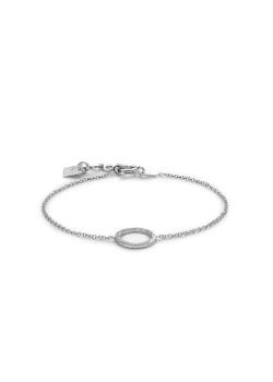 Silver bracelet, hammered 11 mm circle