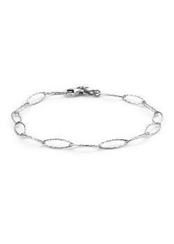 Armband in zilver, gehamerde ovale schakels