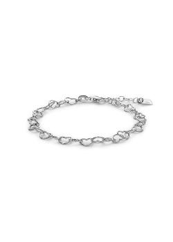 Bracelet en argent, mailles en forme de coeur ajouré