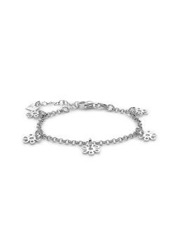 Armband in zilver, bloem bedeltjes