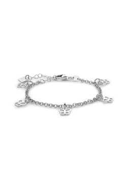 Armband in zilver, vlinder bedeltjes