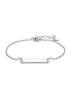 Armband in zilver, graveerbaar plaatje