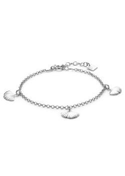 Silver bracelet, 3 gingko biloba leafs