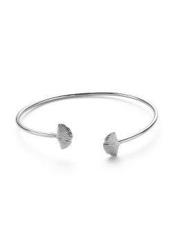 Armband in zilver, bangle, 2 gingko biloba blaadjes