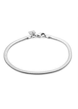 Armband in zilver, platte slangketting