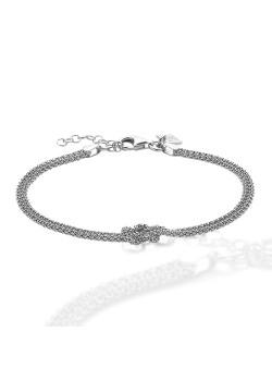 Armband in zilver, 2 slangkettingen, knoop
