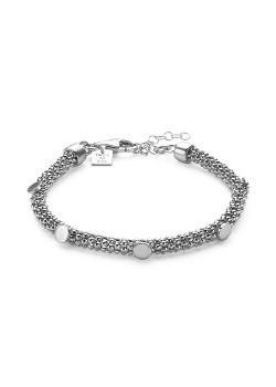 Silver bracelet, snake chain, 5 rounds