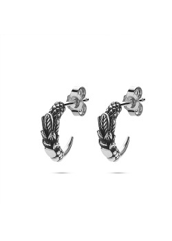 Stainless steel earrings, hoop earring with feathers