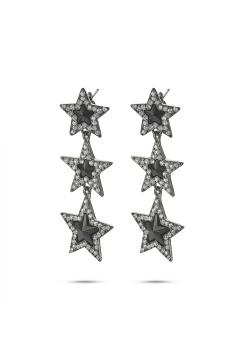 High fashion Oorbellen, 3 sterren, zwart, grijs