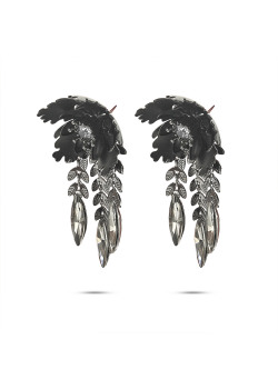 High fashion earrings, flower with leaves