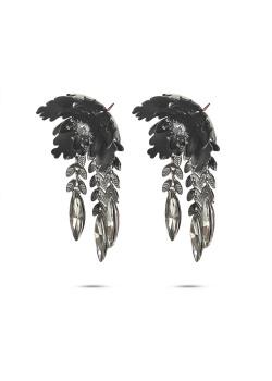 Boucles d'oreilles haute fantaisie, fleur avec des feuilles