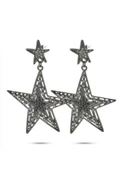 High fashion earrings, big and small star, black, gray