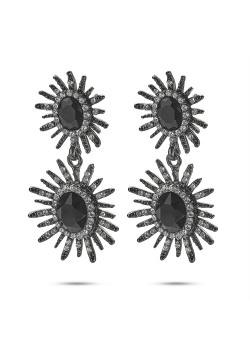 High fashion Oorbellen, 2 ovale bloemen, grijs, zwart