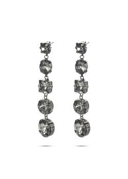 High fashion Oorbellen, 5 ronde, ovale, vierkante, grijze stenen