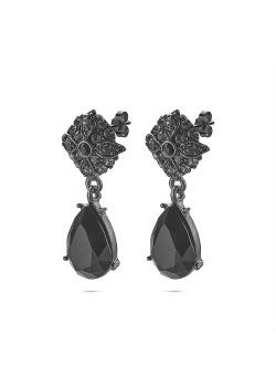 High fashion oorbellen, bloem en druppel in het zwart en grijs, kristallen