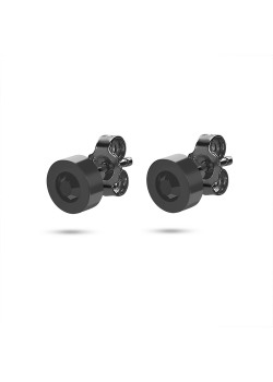 Black stainless steel earrings, round with 1 black crystal of 7 mm