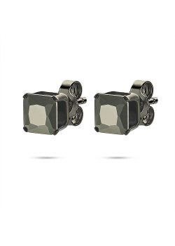 Black stainless steel earrings, squared, black stone