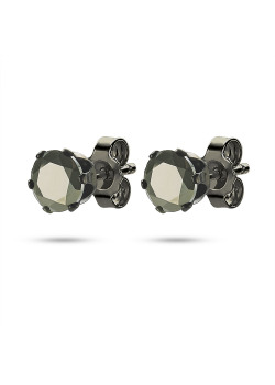 black stainless steel earrings, black stone