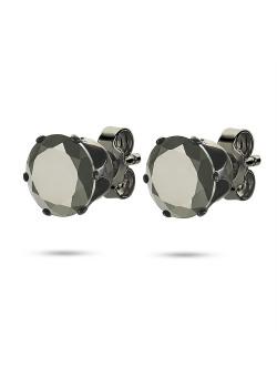 Boucles d'oreilles en acier poli noirs, pierre noire